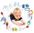 Baby boy and accessories for children in a circle around white background Stock Photography