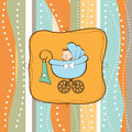 Baby boy announcement card with baby Stock Images