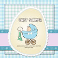 Baby boy announcement card with  pram Stock Photos