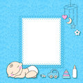 Baby boy announcement card vector illustration Royalty Free Stock Photography