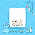 Baby boy announcement card vector illustration Royalty Free Stock Image