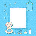 Baby boy announcement card vector illustration Stock Images