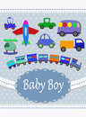 Baby boy announcement card vector illustration of birth concept various vehicles toys on the blue background Stock Photo