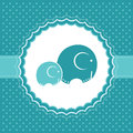 Baby boy announcement card vector illustration with elephants Royalty Free Stock Photo