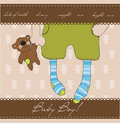 Baby Boy arrival announcement card Royalty Free Stock Photo