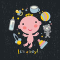 Baby boy arrival announcement card vector illustration Stock Photo