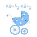 Baby boy arrival card with hand drawn retro styled baby carriage and handwritten words Baby Boy, vector illustration