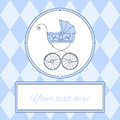 Baby boy arrival card or invitation with retro styled baby carriage and place for text, vector illustration