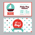 Baby boy arrival cards in nautical style Royalty Free Stock Photo