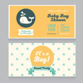 Baby boy arrival cards template with  cute whale Royalty Free Stock Photo