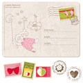 Baby Boy Arrival Postcard with set of stamps Stock Photo