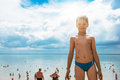 Baby boy at beach Royalty Free Stock Photo