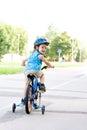 Baby boy on bike Royalty Free Stock Photo