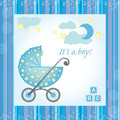 Baby boy birth card Royalty Free Stock Photo