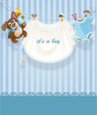 Baby boy blue openwork announcement card Stock Photos