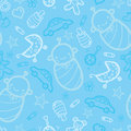 Baby boy blue seamless pattern background Royalty Free Stock Photo