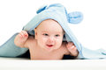 Baby boy in blue towel funny Stock Photos
