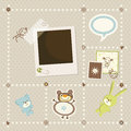 Baby boy card with photo frame Stock Images