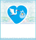 Baby boy card a stork delivering a cute baby boy illustration Royalty Free Stock Photo