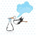 Baby boy card vector illustration of a stork delivering a cute Stock Photography