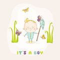 Baby Boy Catching Butterflies - Baby Shower Card Royalty Free Stock Photo