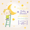 Baby Boy Climbing on a Moon - Baby Shower or Arrival Card Royalty Free Stock Photo
