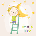 Baby Boy Climbing on a Moon - Baby Shower Card Royalty Free Stock Photo