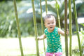 Baby boy  climbing tree Royalty Free Stock Photo