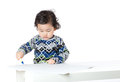 Baby boy concentration on drawing and isolated white Stock Photo