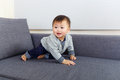 Baby boy creep on sofa at home Stock Images