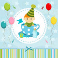 Baby boy in cup little vector illustration Stock Photography