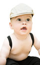 Baby boy a cute little child with a cap on his head isolated on a white background Royalty Free Stock Photo