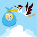 Baby Boy Delivery Stork Royalty Free Stock Photos