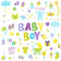 Baby Boy Design Elements Royalty Free Stock Photo