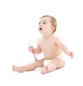Baby boy in diaper with toothbrush #2 Royalty Free Stock Photo