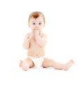 Baby boy in diaper with toothbrush #3 Royalty Free Stock Photo