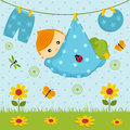 Baby boy in a diaper vector illustration cute little Royalty Free Stock Images