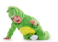 Baby boy in dragon costume month old green for halloween Royalty Free Stock Image