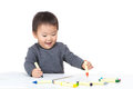 Baby boy drawing with crayon Royalty Free Stock Photography