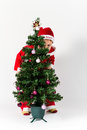 Baby boy dressed as santa claus hiding behind christmas tree white background Royalty Free Stock Photos