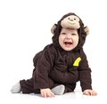 Baby boy dressed in monkey costume over white Royalty Free Stock Photo