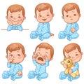 Baby boy emotions set