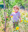 Baby boy exploring outdoor portrait of year old the surroundings of his yard Royalty Free Stock Photos