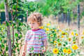 Baby boy exploring outdoor portrait of year old the surroundings of his yard Stock Image