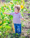 Baby boy exploring outdoor portrait of year old the surroundings of his yard Stock Images