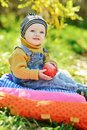 Baby boy in fall sitting on the sunny meadow Stock Images