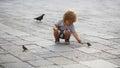 Baby boy feeding birds Royalty Free Stock Photo