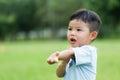 Baby boy feeling itchy Royalty Free Stock Photo
