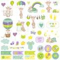 Baby Boy Giraffe Scrapbook Set. Decorative Elements Royalty Free Stock Photo