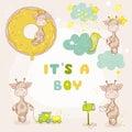 Baby Boy Giraffe Set - Baby Shower Card